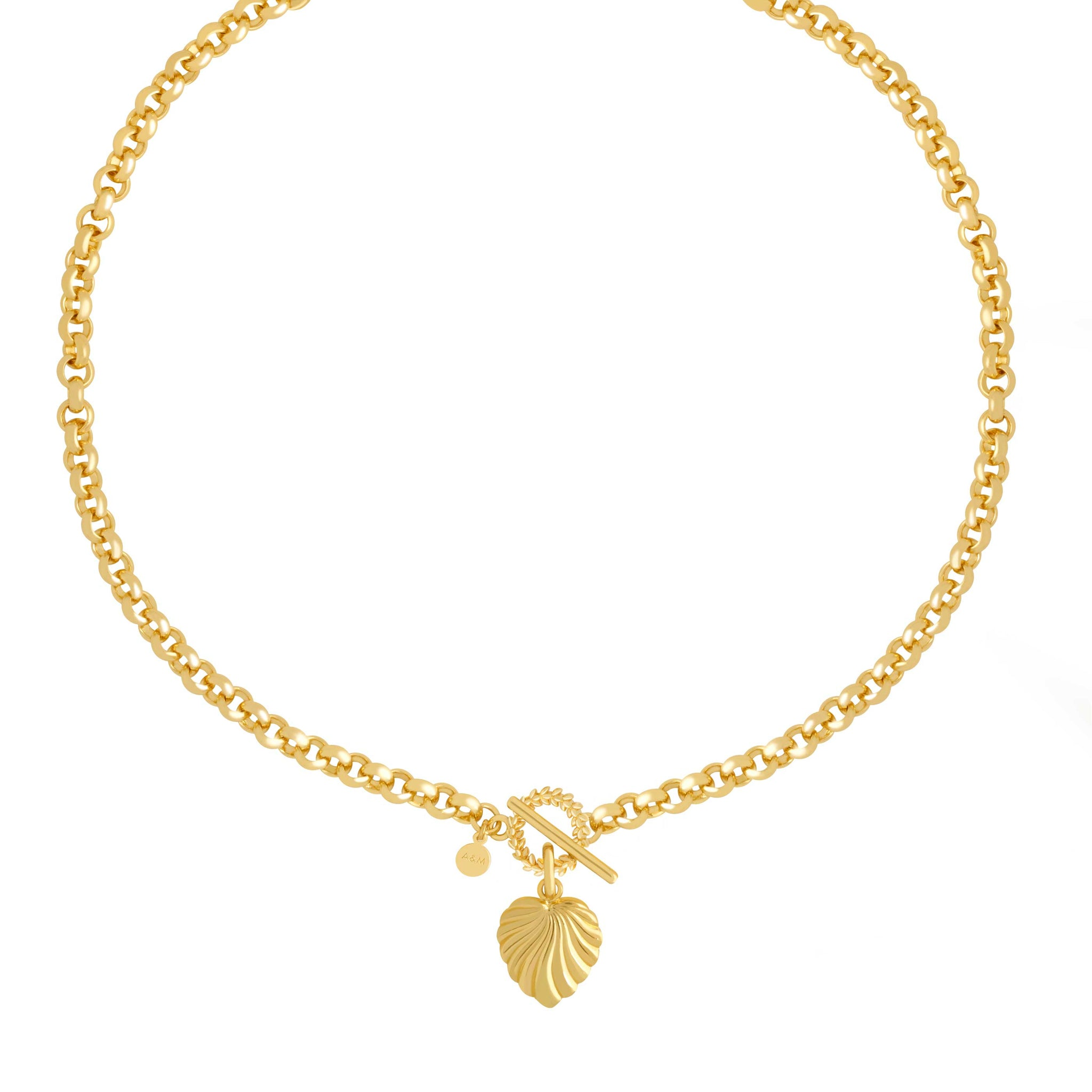Wreath T-Bar Chunky Necklace in Gold