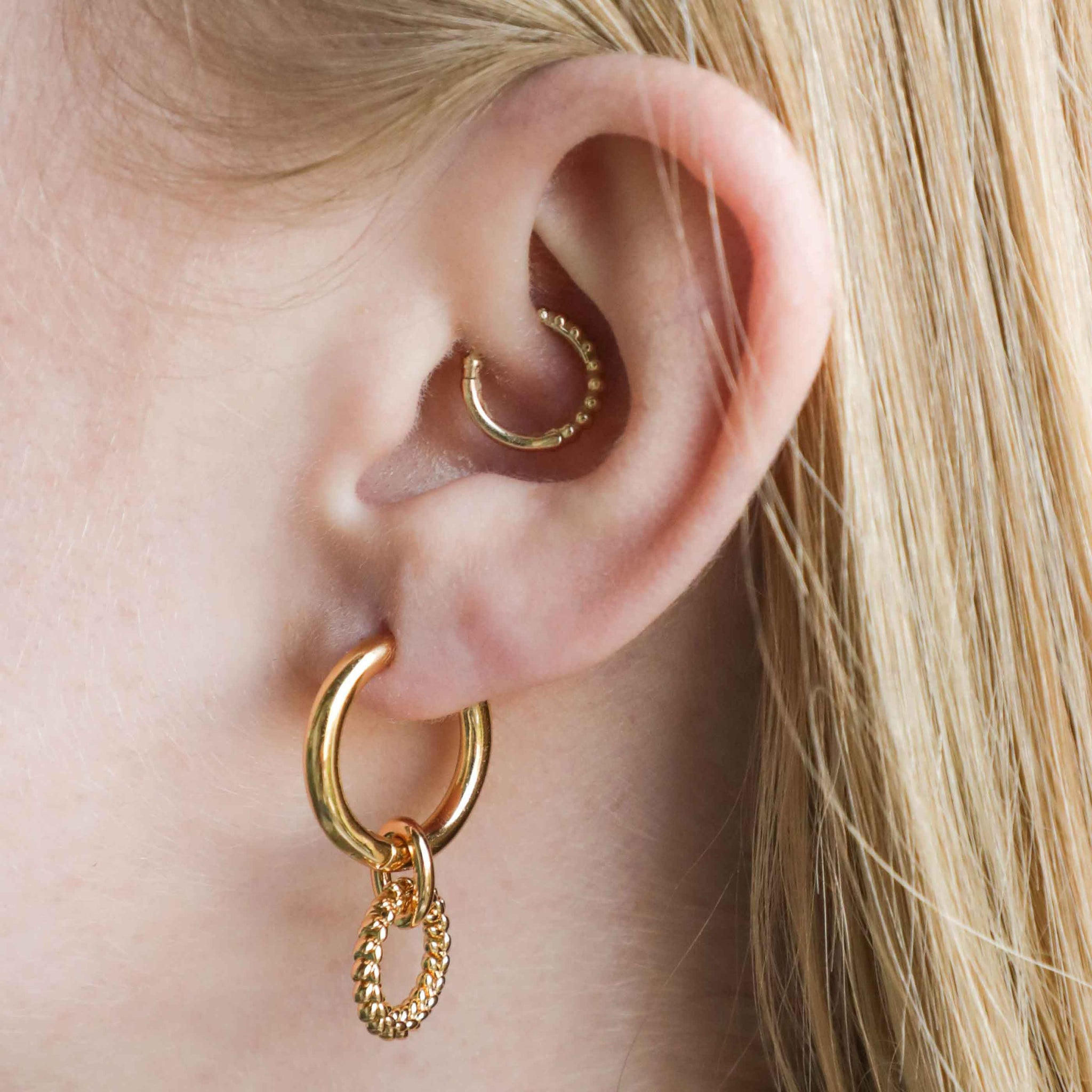 Wreath Charm Hoops in Gold worn