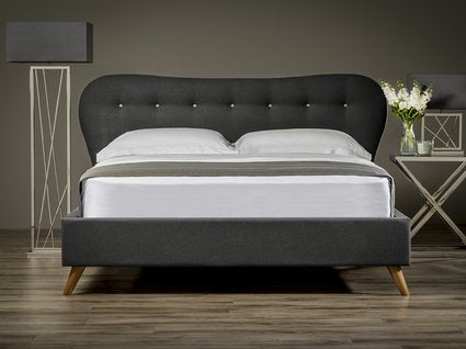 Retro Curved Scandinavian influenced Upholstered Bed