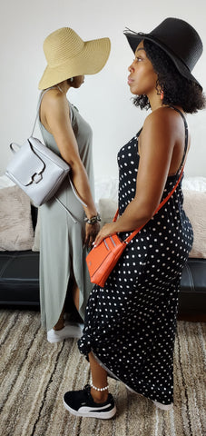 Sage Halter Maxi Dress and Summer Nights Polka Dot Maxi Dress