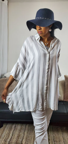 Stripe Oversized Button Down Tunic