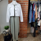 Sage Halter Maxi Dress with Bebe White Jean Jacket