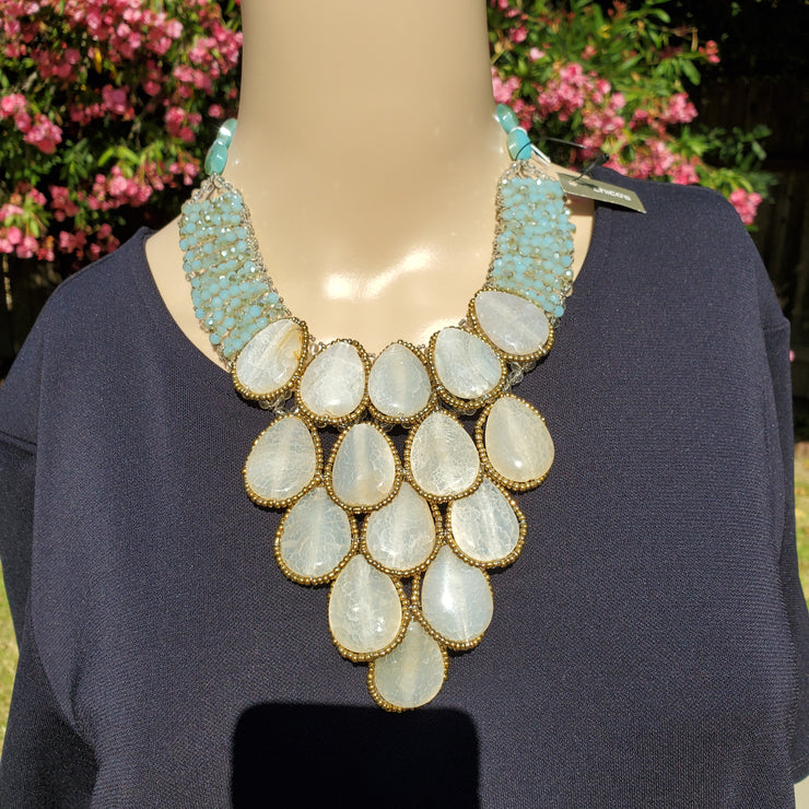 Talbots Tee and Chico's Statement Necklace