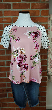 Flowers and Polka Dots Short Sleeve Top