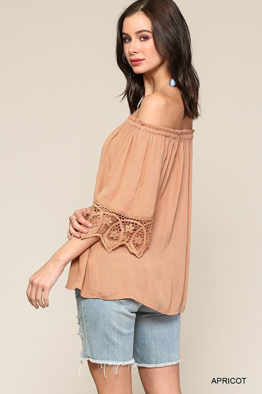 Belle off shoulder top with crochet lace detail - Apricot