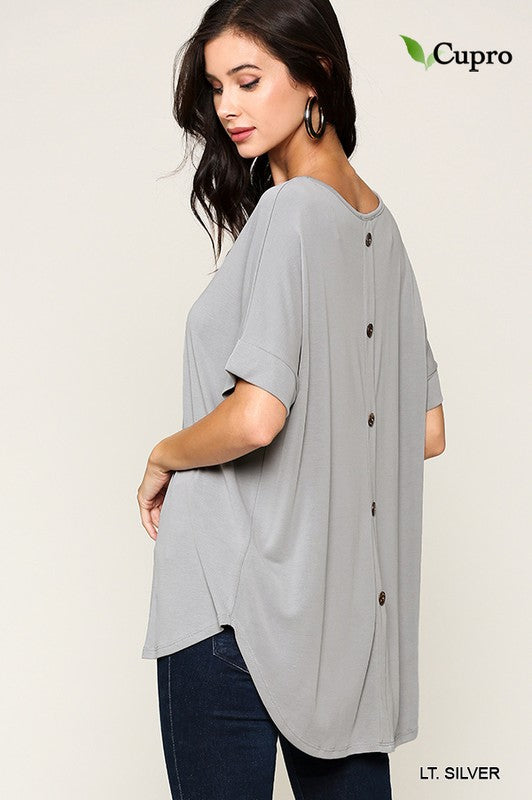 Light Silver Cassie Back Button Detail Top