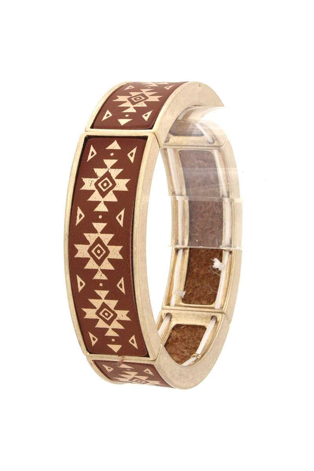 Aztec Pattern Bracelet - Brown