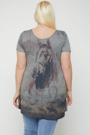 Horse Print Short Sleeve Top