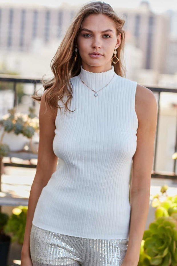 Mock Neck Sleeveless Rib Knit Top - white