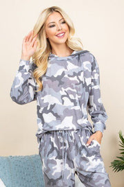 Camo Print French Terry Hoodie - Gray