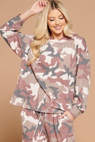 Camo Print French Terry Hoodie - Brugundy