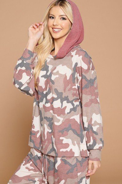 Camo Print French Terry Hoodie - Burgundy