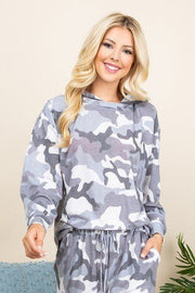 Camo Print French Terry Hoodie
