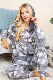 Camo Print French Terry Hoodie - Grey