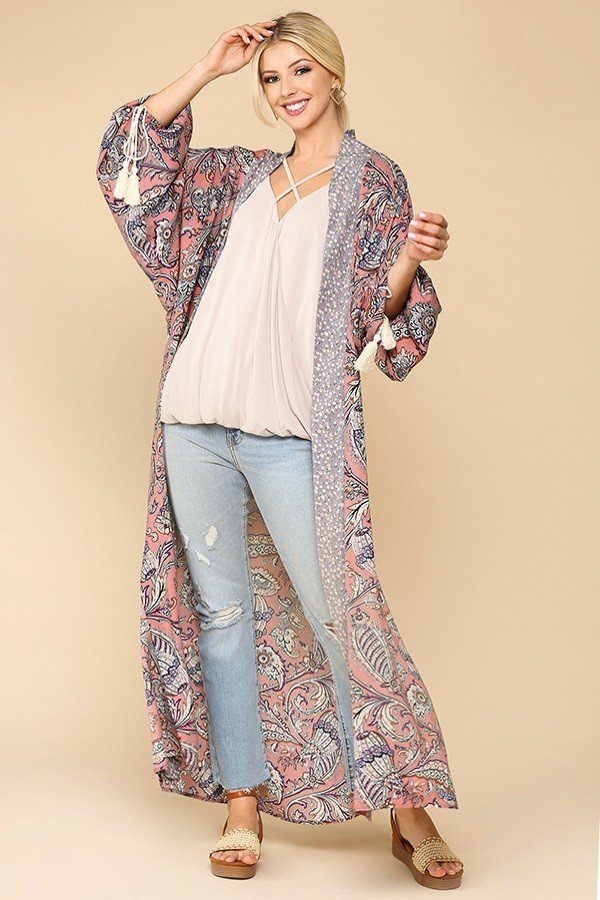Boheme Autumn Kimono With Side Slits - light rose