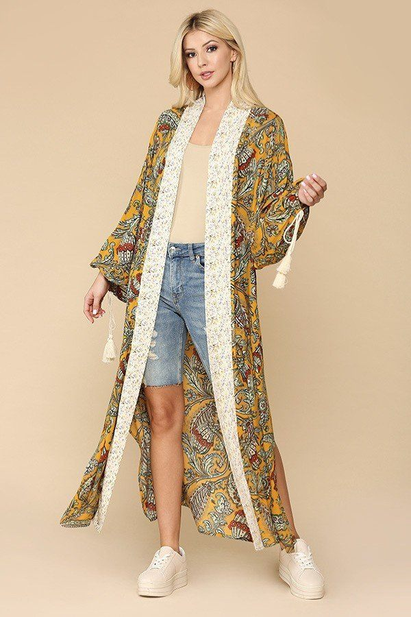 Boheme Autumn Kimono With Side Slits - Saffron