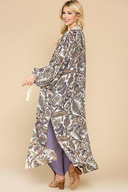 Boheme Autumn Kimono With Side Slits - off white