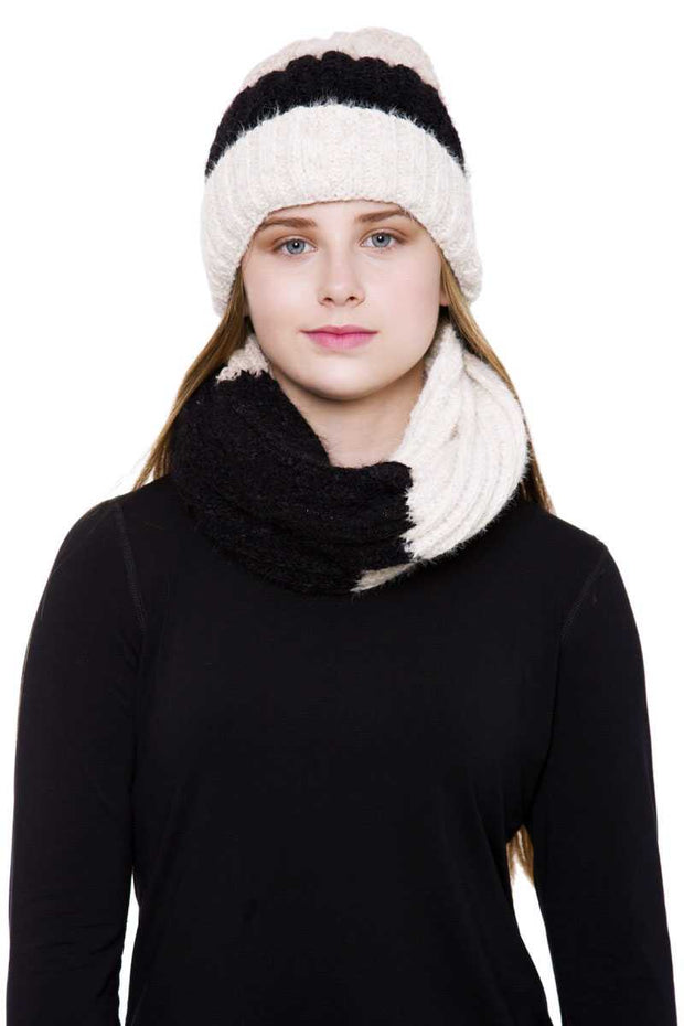 Knit Infinity Scarf And Hat Set - Beige