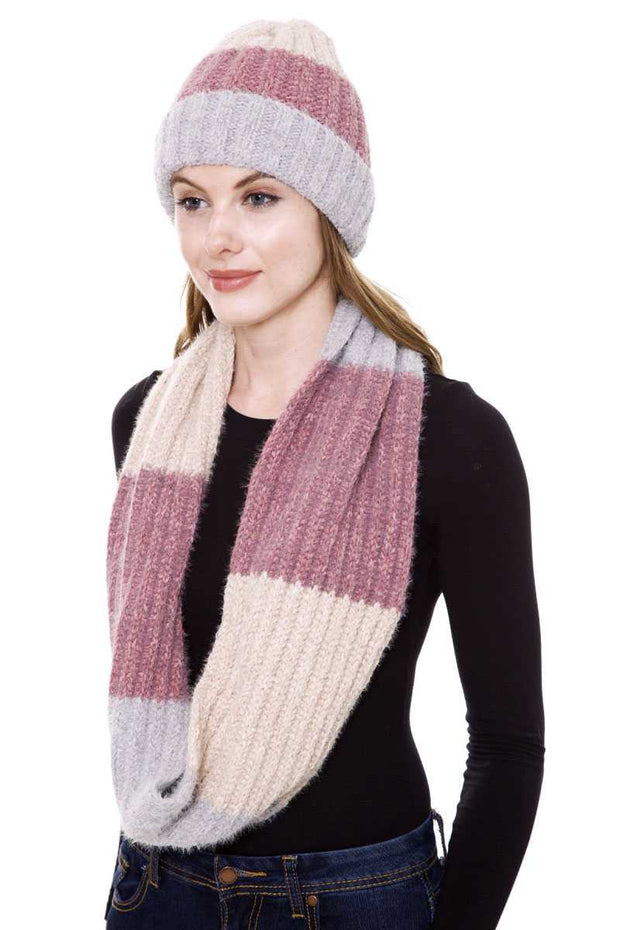 Knit Infinity Scarf And Hat Set