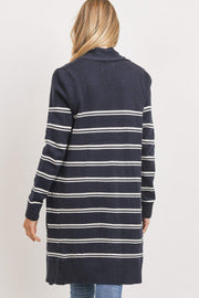 Marina Navy Striped Open Front Cardigan
