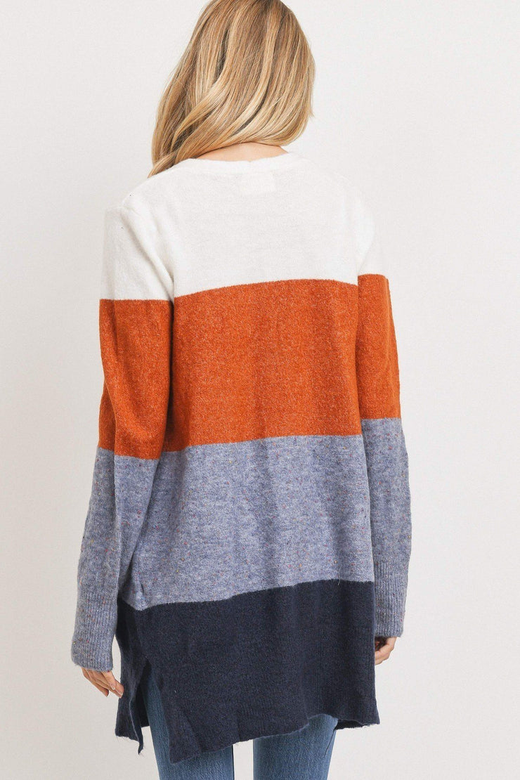 Natural Elements Striped Open Front Cardigan