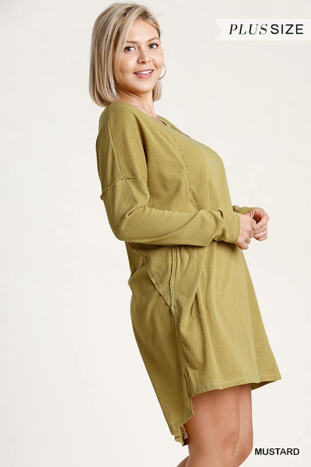 Candice Long Sleeve High-Low Everyday Dress - Mustard