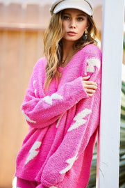 Pink Thunder Loose Fit V-Neck Sweater