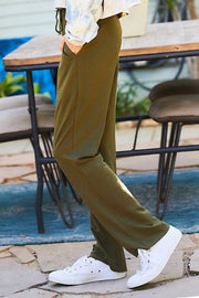 Military Olive Straight Leg French Terry Pants