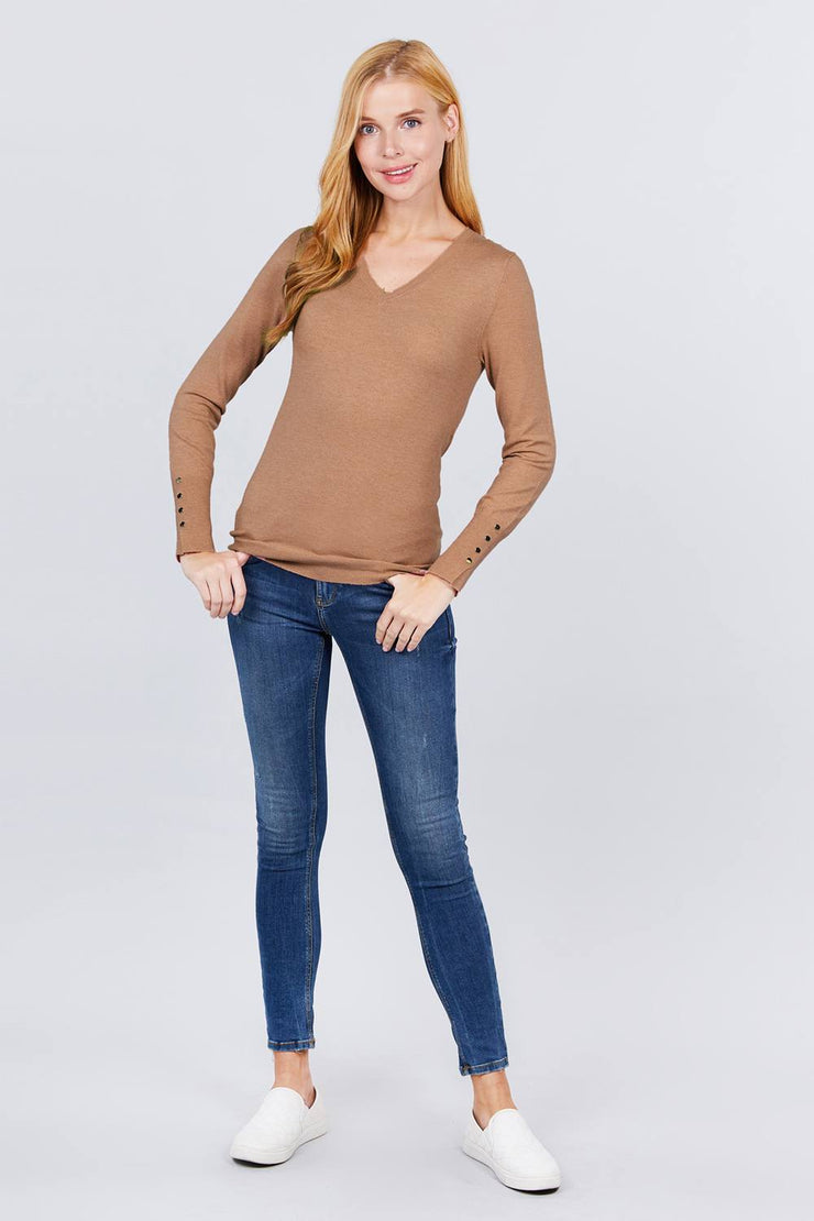 V-neck Sweater with Button Detail