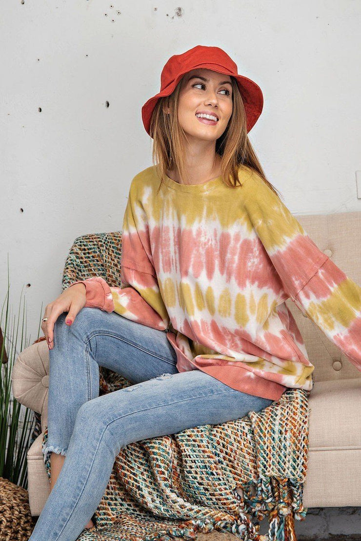 Ombre Tie Dye Long Sleeve Pullover - Mustard Rose