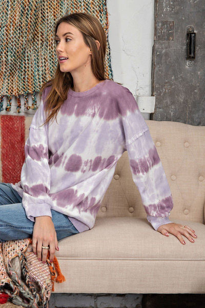 Ombre Tie Dye Long Sleeve Pullover