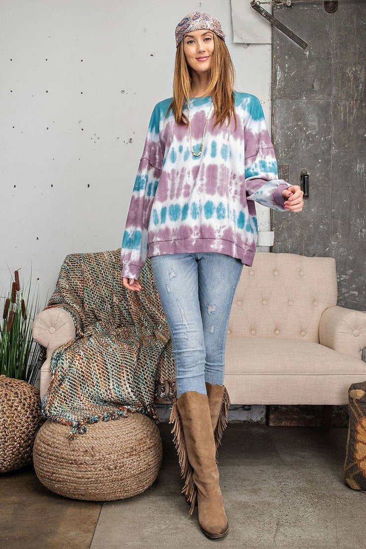 Ombre Tie Dye Long Sleeve Pullover - Mauve Teal