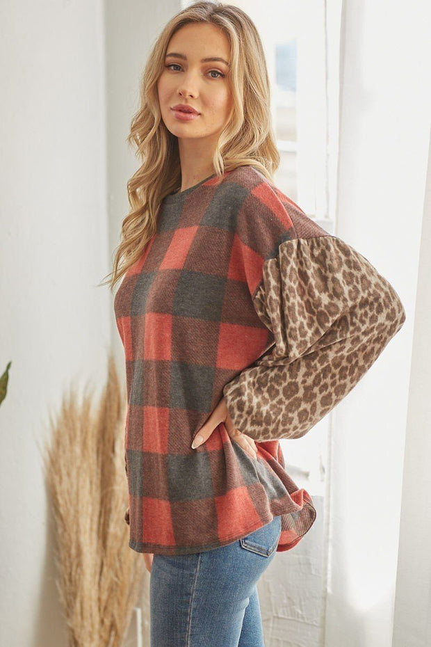 Plaid Pullover with Animal Print Sleeves - Red
