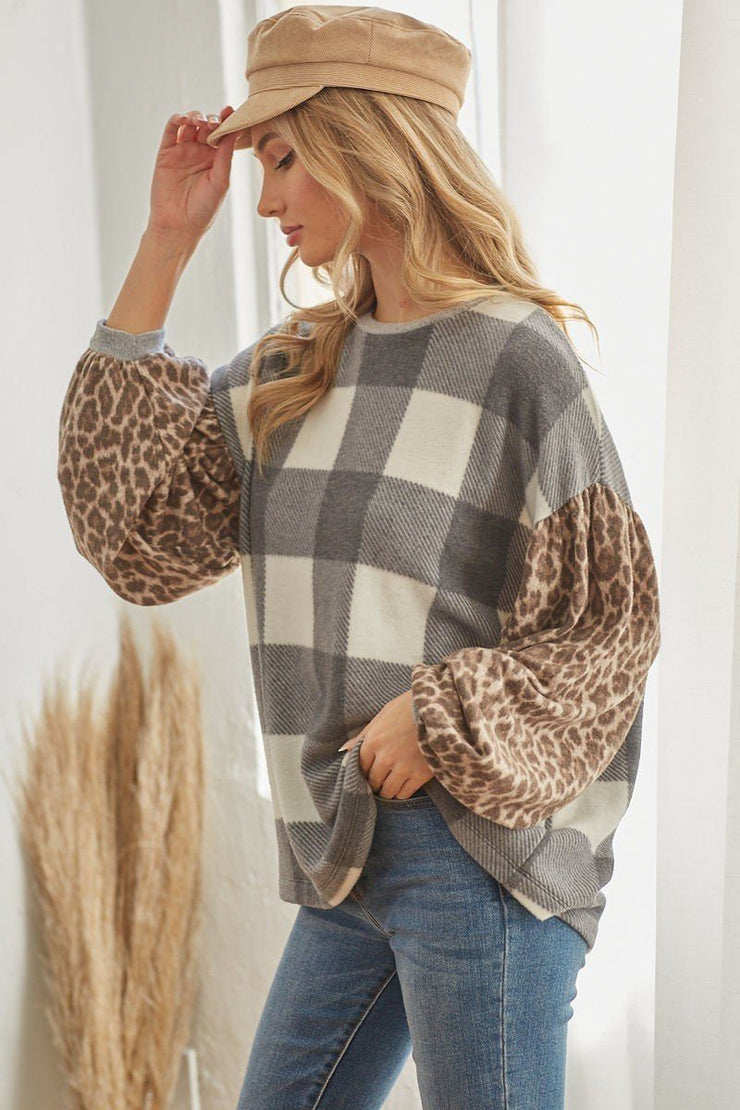 Plaid Pullover with Animal Print Sleeves - Grey