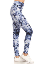 Blue High Waist Yoga Style Tie Dye Printed Legging