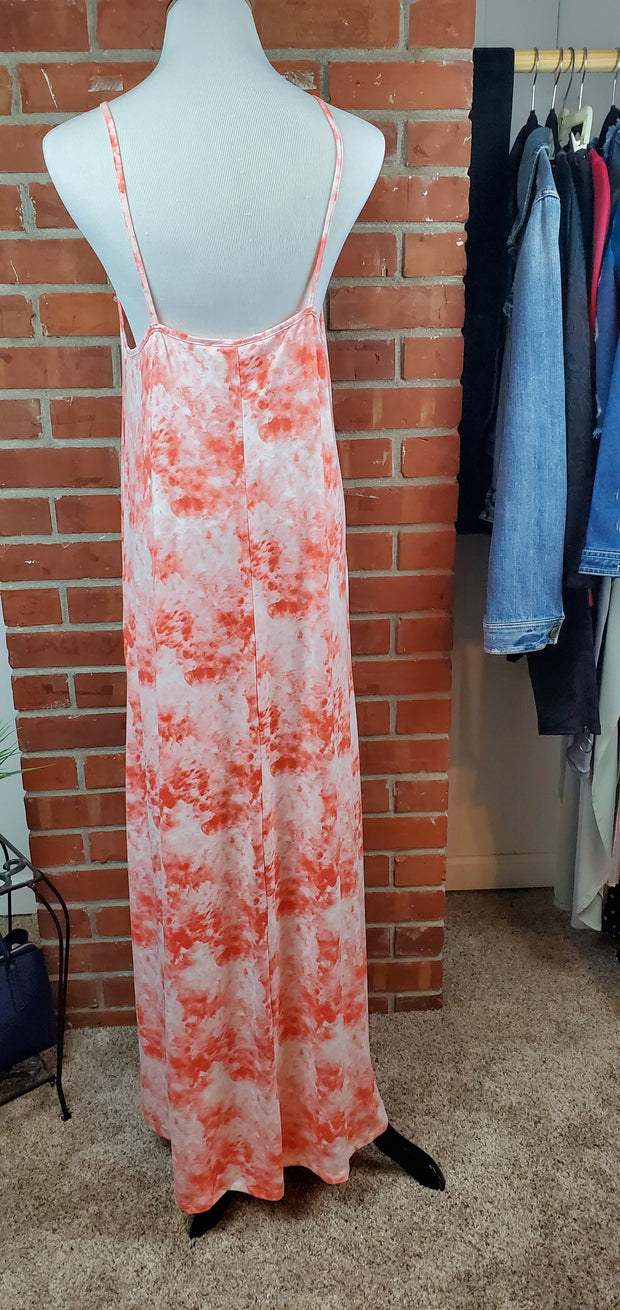 Coral Cloud Long Maxi Dress - back view