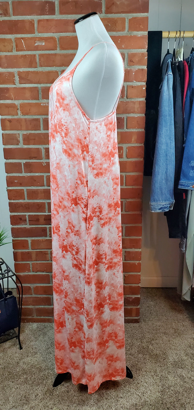 Coral Cloud Long Maxi Dress - side view