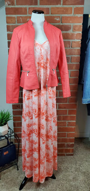 Coral Cloud Long Maxi Dress with jacket