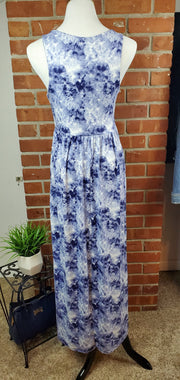 Denim Blue Ivory Cloud Long Maxi Dress - back