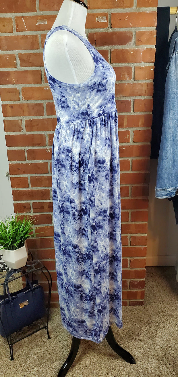 Denim Blue Ivory Cloud Long Maxi Dress - side view