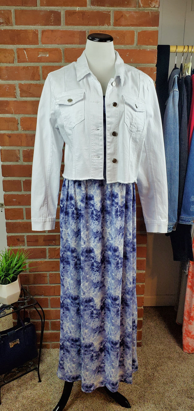 Denim Blue Ivory Cloud Long Maxi Dress with jacket