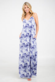 Denim Blue Ivory Cloud Long Maxi Dress