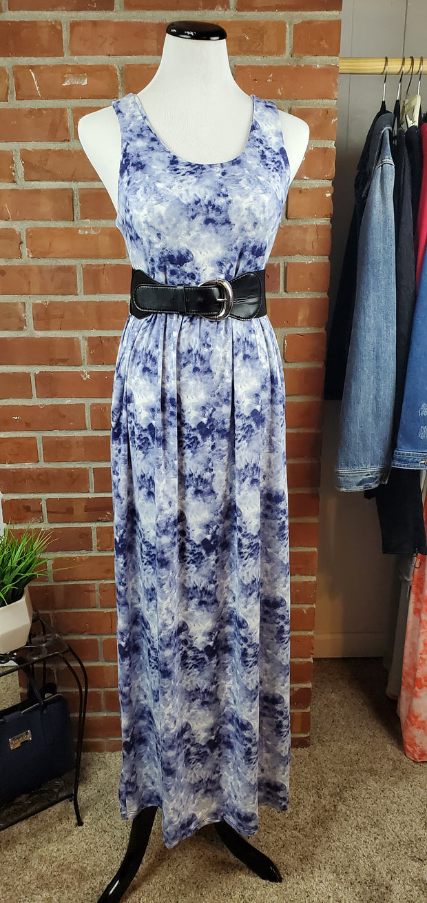 Denim Blue Ivory Cloud Long Maxi Dress with belt