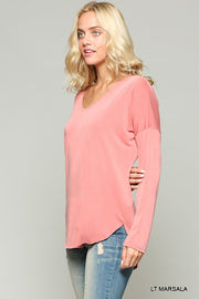 Light Marsala Long Sleeve Top