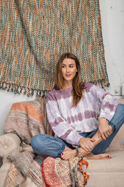 Ombre Tie Dye Long Sleeve Pullover - Lilac