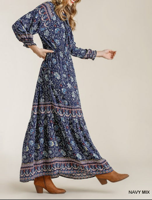 Willow Paisley Print Smocked Maxi Dress - Navy