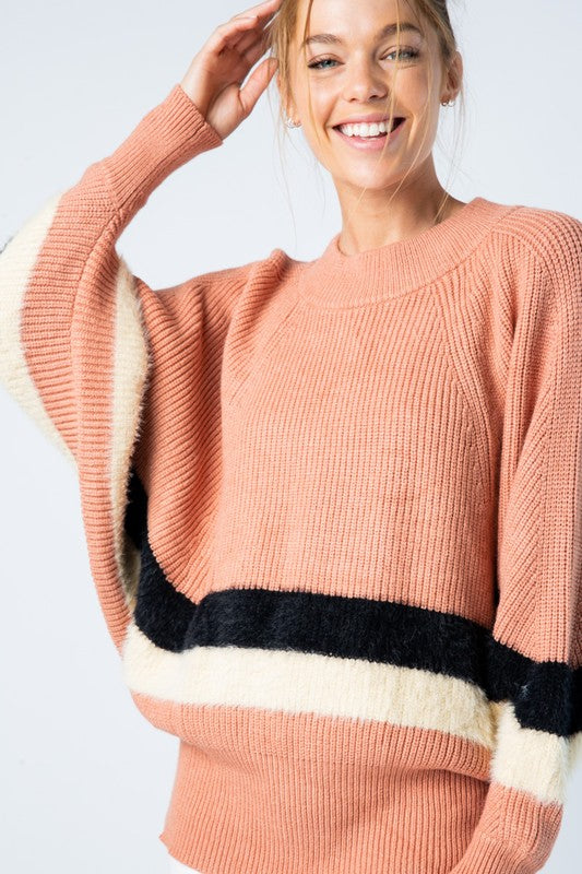 Dark Mauve Striped Dolman Sleeve Sweater