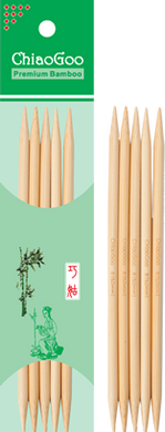 ChiaoGoo  8″ (20 cm) Natural color bamboo double points