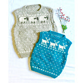 #03 Child's Sheep & Reindeer Vests by Melinda Goodfellow