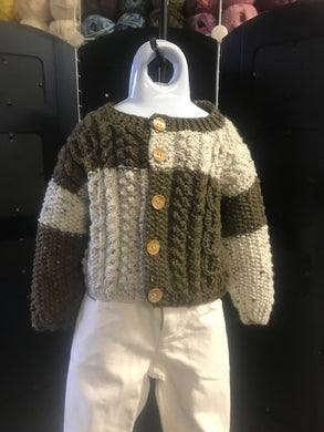Hand Knitted Cable Sweater Size 6 to 12 Months